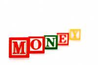 Alphabet toy building blocks spelling the word money.