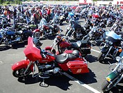 Motorcycles, motorcyclists gathering, Wellsville, New York, USA