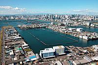 Aerial view of log boom at Tokyo bay, Koto ward, Tokyo Prefecture, Honshu, Japan