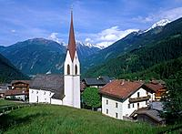 Mayrhofen is a town in the Zillertal or Ziller river valley of the Tyrol. Finkenberg church is at the heart of the town.