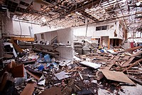 The destroyed interior of a retail building in Joplin, Missouri, May 25, 2011  On May 22, 2011, Joplin Missouri was devastated by an EF-5 tornado