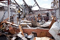 Debris surround the destroyed Joplin High School in Joplin, Missouri, May 25, 2011  On May 22, 2011, Joplin Missouri was devastated by an EF-5 tornado