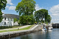 Yacht in lock at Neptunes Staircase Caledonian Canal Banavie nr Fort William Highland Scotland