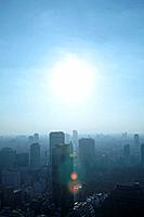 Sunlight over office buildings, Tokyo prefecture, Japan