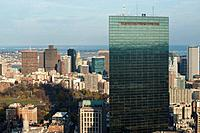 Aerial view of John Hancock Tower in Boston, Massachusetts, USA