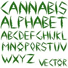 cannabis leafs alphabet against white background abstract vector art illustration