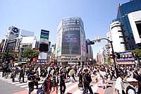 Crosswalk outside Shibuya station, Shibuya_ku, Tokyo, Japan