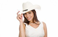young woman wearing a cowboy hat