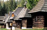 Traditional wooden houses in the open air museum representing village of Orava region Muzeum oravskej dediny Zuberec - Brestova, Slovakia