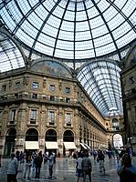 Interior of the Galleria Vittorio Emmanuelle II,with Iron and glass roof.