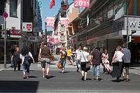 D-Koblenz, Rhine, Moselle, Maifeld, Eifel, Hunsrueck, Westerwald, Rhineland-Palatinate, downtown, Marktstrasse, shopping street, pedestrian zone, peop...