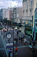Grafton street lower. View of pedestrian street. Shops,pubs. People.