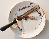 Close up of empty plate with rests of chocolate and sprinkles