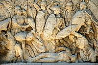 Detail of relief sculpture on a Roman arch.