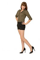 Attractive Woman Wearing Button-down Shirt, Shorts and High Heels
