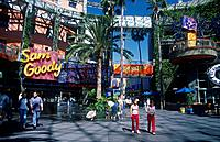 Theme park. Street. Cafes,attractions. People. Los Angeles.