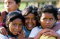 Rio Platano Biosphere Reserve. Miskito tribe children.