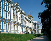 Catherine palace. Baroque style architecture. Blue,white paintwork. Two people.