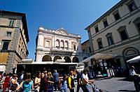 Piazza Di Matteoti. Market place. Stalls. People.