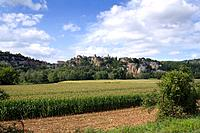 Calvignac, a rural hilltop village perched on cliffs above the River Lot, The Lot, Midi_Pyrenees, France, Europe