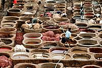 Tannery. Workers using traditional methods at a tannery in Morocco. This tannery uses natural curing materials such as cow urine and bird guano to mak...