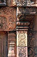 Banteay Srei is a 10th century Cambodian temple dedicated to the Hindu god Shiva. Built mostly from red sandstone the building is elaborately carved. ...