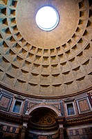 The oculus opening, domed ceiling and wall of the Pantheon in Rome, Lazio, Italy