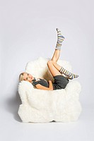 blonde on furry arm_chair