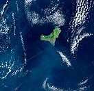 El Hierro, Canary Islands, satellite image. North is at top. Clouds are white, water is blue, and vegetation on land is green. El Hierro is a volcanic...