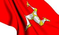Isle of man flag against white background. Close up.
