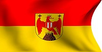 Flag of Burgenland against white background. Close up.