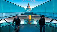 UK, England, London, Millennium Bridge and St. Paul´s Cathedral