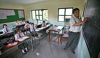Tibetan refugees in school in Nepal