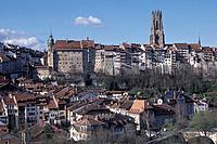 Switzerland, Europe, Fribourg, Freiburg, panorama, cathedral, summer, Old Town, town, city, house, home, canton,