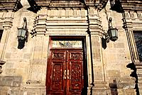 Second city of Mexico. Palacio de Gobierno. 1774. Facade. Carvings,doorway.