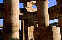 Karnak. Temple. Carved stone columns,pillars. Champillon´s graffitto. Hieroglyphics.