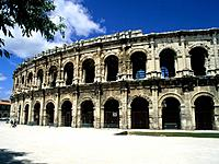 Les Arenes,a roman amphitheatre,now a bullfighting arena.