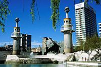 Parc de l'Espanya Industrial is a park which celebrates Spain's industrial past,with installations based around a former factory. It has tall towers a...