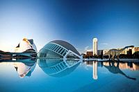 Spain, Europe, Valencia, City of Arts and Science, Calatrava, architecture, modern, Hemisferic, Palace of Arts, water