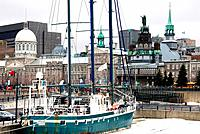 Canada, Quebec, Montreal, Bassin Bonsecours, docked sailboat