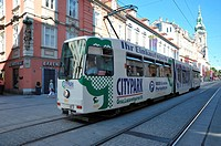 Tramway running through Herrengasse Street, Graz, Styria, Austria
