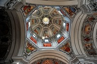 Central dome of Saint Rupert's Cathedral, baroque building of the Seventeenth Century  Domplatz  Salzburg  Austria  The archbishop Markus Sittikus put...