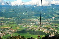 Panoramic outlook from the funicular (it reaches the peak up to 1853 metres high) of Untersber mountain viewpoint located in Grödig, a few kilometres ...