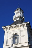 detail of tower of Hotel Seeschloss, seaside resort Heringsdorf, Usedom island, Mecklenburg-Vorpommern, Germany, Europe
