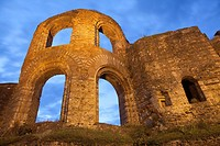 ruins of the Kaiserthermen at night, World Heritage Site, Trier, Germany