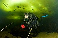 Scuba Diver under Ice, White Sea, Karelia, Russia