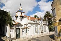 building decorated with azulejos ceramic tiles, cascais, portugal