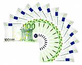 Euro banknotes.
