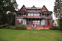 facade of historic Villa at Seaside Resort Heringsdorf, Isle of Usedom, Western Pomerania, Germany, Europe