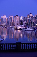 COAL HARBOUR FROM STANLEY PARK DOWNTOWN SKYLINE VANCOUVER BRITISH COLUMBIA CANADA